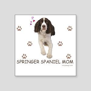 """Springer Spaniel Mom Square Sticker 3"""" x 3"""""""