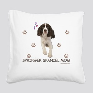 Springer Spaniel Mom Square Canvas Pillow