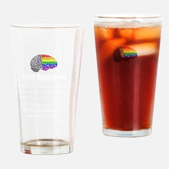 Shift Happens - Wht - back Drinking Glass