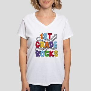 Bright Colors 1st Grade Women's V-Neck T-Shirt