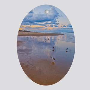 Ocean Birds at Sunrise Oval Ornament