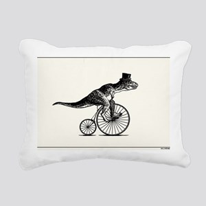 T-Rex on a Penny Farthin Rectangular Canvas Pillow