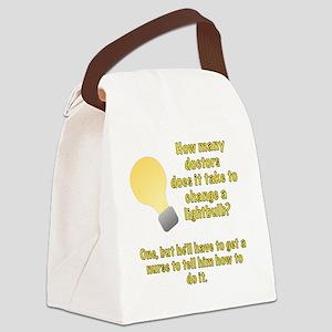 Doctor lightbulb joke Canvas Lunch Bag