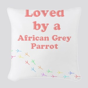 Loved by aAfrican Grey Parrot Woven Throw Pillow