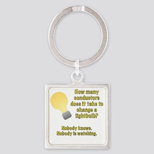 Conductor lightbulb joke Square Keychain