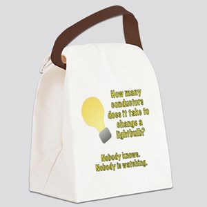 Conductor lightbulb joke Canvas Lunch Bag