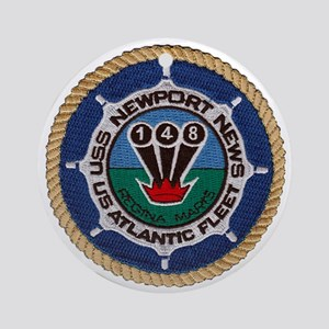 uss newport news patch transparent Round Ornament