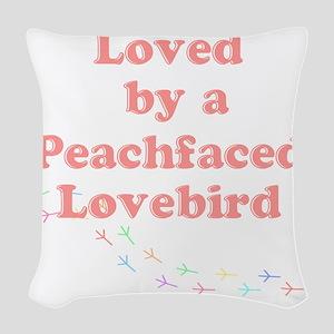 Loved by a Peachfaced Lovebird Woven Throw Pillow