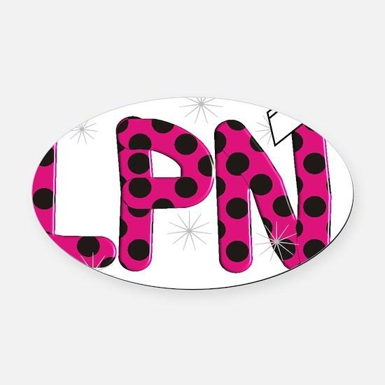 LPN fuschia and polka dots Oval Car Magnet