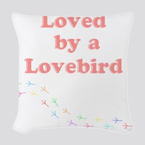 Loved by a Lovebird Woven Throw Pillow