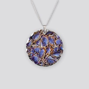Blue Crab Necklace Circle Charm