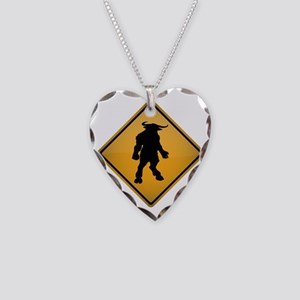 Minotaur Warning Sign Necklace Heart Charm
