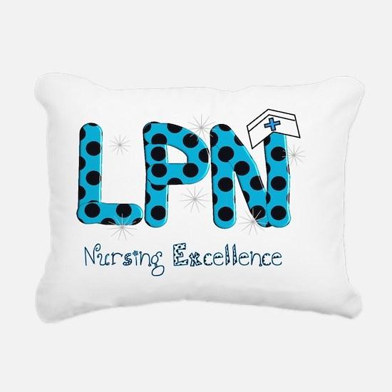 LPN blue black polka dot Rectangular Canvas Pillow