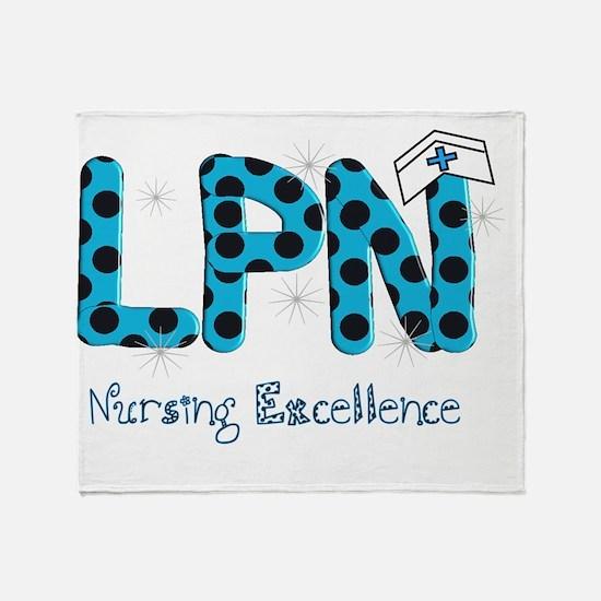 LPN blue black polka dots Throw Blanket