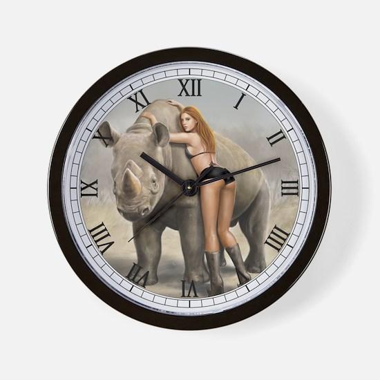 Girl And Rinho Wall Clock