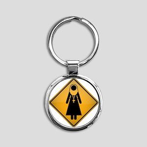 Nun Warning Sign Round Keychain