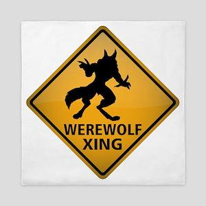 Werewolf Crossing Sign Queen Duvet