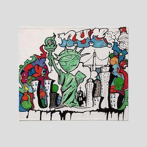 graffiti new york city Throw Blanket