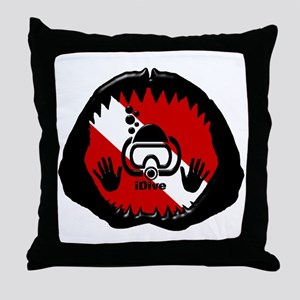 iDive Scuba Shark Jaw Throw Pillow