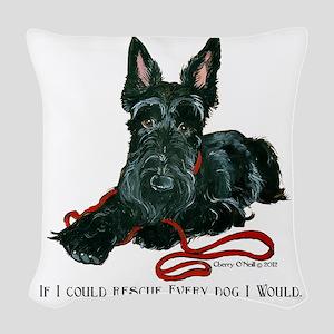 Scottish Terrier Rescue Me Woven Throw Pillow