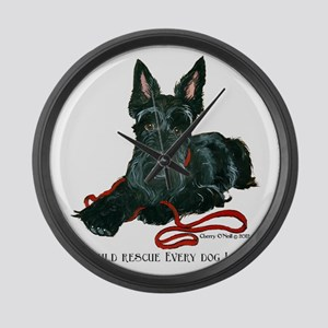 Scottish Terrier Rescue Me Large Wall Clock