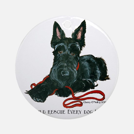 Scottish Terrier Rescue Me Round Ornament