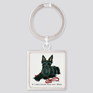 Scottish Terrier Rescue Me Square Keychain
