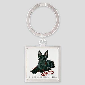 Scottish Terrier Rescue Me Square Keychain