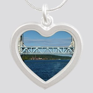 Portage Lake Lift Bridge Silver Heart Necklace