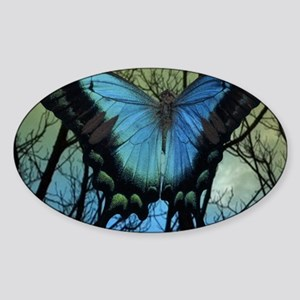 10 - 3x5 Blue Butterfly Flat Cards Sticker (Oval)