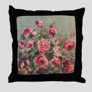 Pierre-Auguste Renoir Roses Throw Pillow