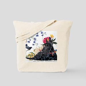 Scottish Terrier Hummingbird Tote Bag