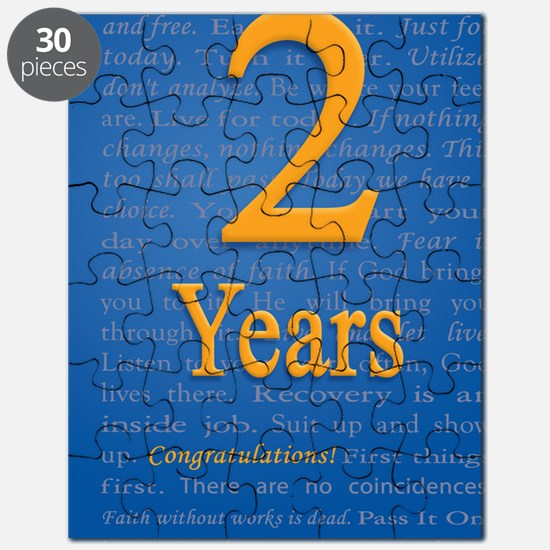 2 Years Recovery Slogan Birthday Card Puzzle