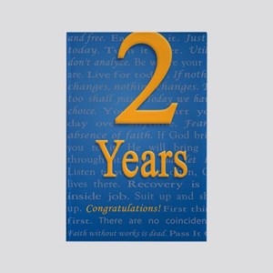 2 Years Recovery Slogan Birthday  Rectangle Magnet