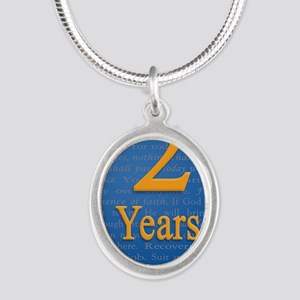 2 Years Recovery Slogan Birth Silver Oval Necklace