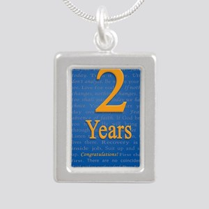 2 Years Recovery Slogan  Silver Portrait Necklace