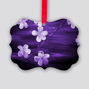 Cherry Blossom Night Shadow Purpl Picture Ornament