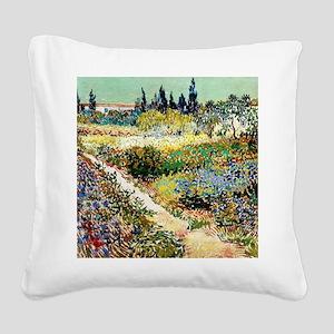 Van Gogh Garden At Arles Square Canvas Pillow