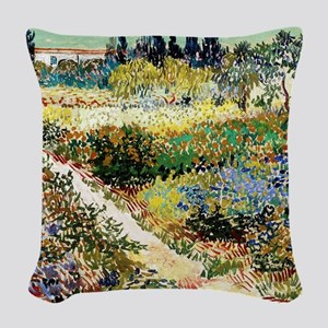 Van Gogh Garden At Arles Woven Throw Pillow