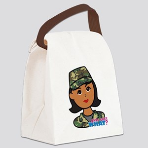 Army Head Woodland Camo Canvas Lunch Bag