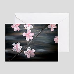 Cherry Blossom Night Shadow Greeting Card