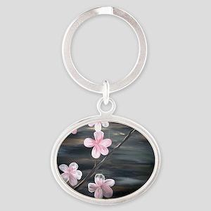 Cherry Blossom Night Shadow Oval Keychain