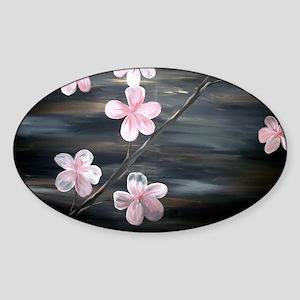 Cherry Blossom Night Shadow Sticker (Oval)