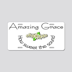 Amazing grace with flowers Aluminum License Plate