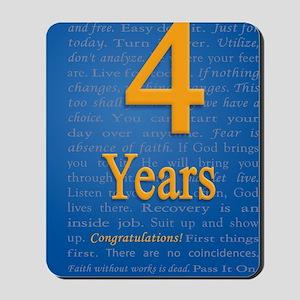 4 Years Recovery Slogan Birthday Card Mousepad