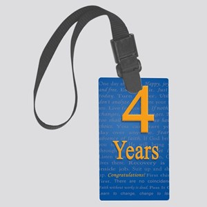 4 Years Recovery Slogan Birthday Large Luggage Tag