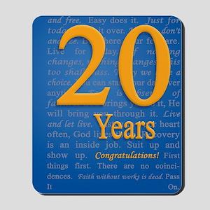 20 Years Recovery Slogan Birthday Card Mousepad