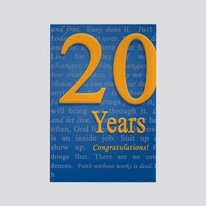 20 Years Recovery Slogan Birthday Rectangle Magnet