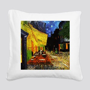 Van Gogh Cafe Terrace At Nigh Square Canvas Pillow