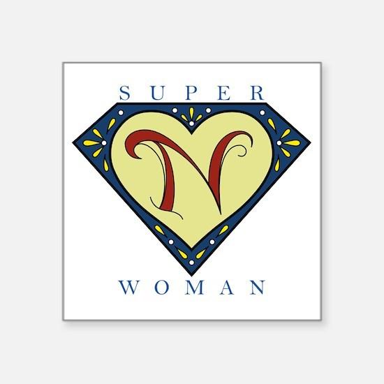"Superwoman N Blue Square Sticker 3"" x 3"""